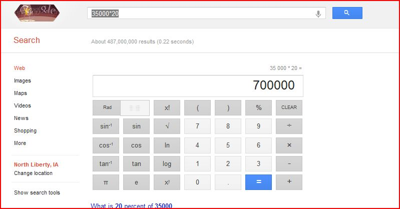 Google calculator as been supersized