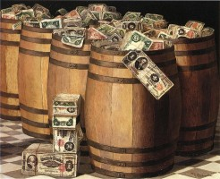 Victor Dubreuil - Barrels on Money, c. 1897 oil on canvas Src: Wikimedia Commons