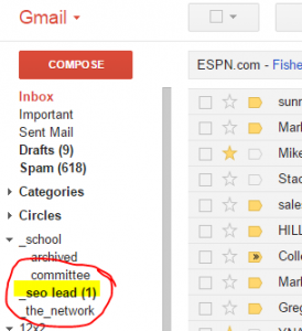 Here is the same label in gmail - now I have a visual of the number of new emails from the SEO site.